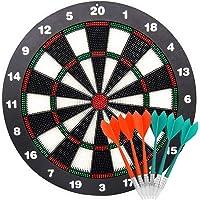 Lemcrvas Dartscheibe für Kinder Steeldarts Dartboard Durchmesser 42 cm Dicke 3,5 cm 6 Dartpfeile Kindgerecht