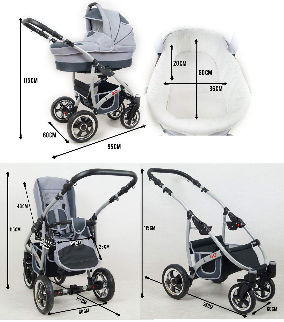 SaintBaby Stroller Pram 2in1 3in1 Set All in one Baby seat Buggy Pushchair New L-GO Black 3in1 with Baby seat SaintBaby 3in1 or 2in1 Selectable. At 3in1 you will also receive the car seat (baby seat). Of course you get the baby tub (classic pram) as well as the buggy attachment (sports seat) no matter if 2in1 or 3in1. The car naturally complies with the EU safety standard EN1888. During production and before shipment, each wagon is carefully inspected so that you can be sure you have one of the best wagons. Saintbaby stands for all-in-one carefree packages, so you will also receive a diaper bag in the same colour as the car as well as rain and insect protection free of charge. With all the colours of this pram you will find the pram of your dreams. 3