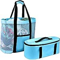 Strandtasche für Damen Mesh Große Strandtasche mit Reißverschluss Isolierbeutel 35L Abnehmbarem Badetasche mit Taschen…