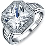 Art Deco Style 5CT AAA CZ Baguette Halo Square Princess Cut Promise Engagement Ring per donna Sterling Silver