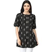 DHRUVI TRENDZ Slub Rayon Fully Stitched Anarkali Foil Print Kurti for Women & Girls on Jeans Palazzo or Skirt