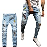 Geagodelia Jeans Strappati Uomo Stretti Pantaloni in Denim Slim Fit Vita Alta Jeans Uomo Elasticizzati Ricamo Casual Hip-Hop