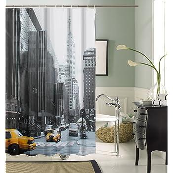 Papillon Rideau de douche en textile, Polyester, New York, 0.1 x 180 ...