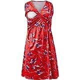 IFFEI Maternity Nursing Dress for Women Breastfeeding Pregnancy Sleeveless Floral Printed Casual Knee Dress