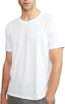 Men's Basic T-Shirt, 1 Pack in Crew or V-Neck, Made of Modal & Organic Cotton, Lightweight, Quick Dry & Soft, Short Sleeves, Black, White, Grey, Blue