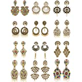 Dunims Earrings for women Pearl Latest Stylish Fancy Jhumka and Chandbali Artificial Gold Plated - Combo Of 12 Pairs Set