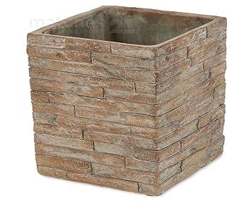 Beton übertopf matches21 dekorativer beton übertopf pflanztopf in steinmauer