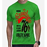 Casotec Brooklyn 76 Designer Polyester Sports Round Neck T-Shirt - Green