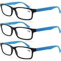 MODFANS Confezione da 3 occhiali da lettura 1.0 per uomo/donna, Cerniera a molla leggera rettangolare, lente trasparente…