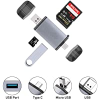 eErlik Latest USB Type C, USB 3.0 and Micro USB OTG Memory Card Reader Adapter Portable 1 Slots for TF, SD, Micro SD, SDXC, SDHC, MMC, RS-MMC, Micro SDXC, Micro SDHC, UHS-I, USB 3.0