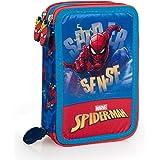 Spiderman 43224 Trousse triple rembourrée, 44 accessoires scolaires, 20 cm