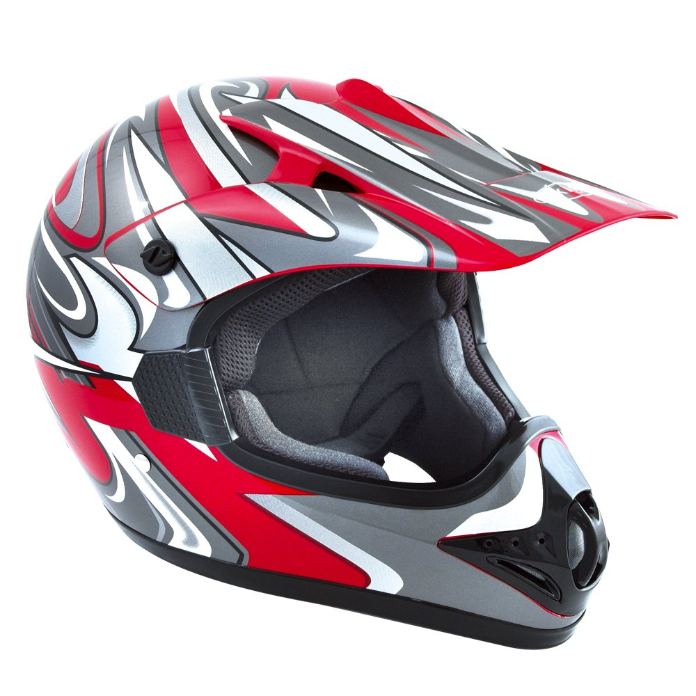 Akira Casco Moto Motocross/Mx per Bambini Ishido Kids, Rosso/Grigio, XL