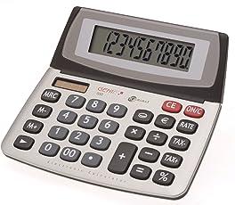 Genie 550 TE 10-stelliger Business-Tischrechner (Dual-Power (Solar und Batterie), Jumbo-Display, Inkl. Währungsumrechnun) silber/grau