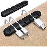 Kabelklemmen, HITRENDS Desktop Cord Organizer, 2-pack (6 slots) Siliconen Zelfklevende Kabelhouder voor Draadbeheer voor USB-