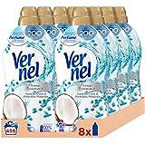 Vernel Suavizante Concentrado para la Ropa Aromaterapia Agua de Coco & Minerals - Pack de 8x57D, Total 456 Lavados (10.4 L)