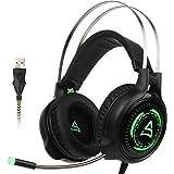[2017 USB Gaming Kopfhörer] SUPSOO G815 Stereo Gaming Kopfhörer Computer über Ohr mit Mic Noise Isolierung Lautstärkeregler LED Licht für PC & MAC (schwarz / grün)