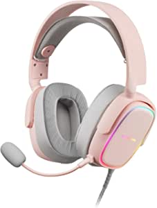 Marsgaming Mars Gaming Mhax Pink Rgb Gaming Kopfhörer Abnehmbares Mikrofon 53mm Hifi