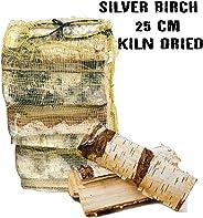 Silberfarbene Birke ofengetrocknete Hartholzscheite, 25 l Netz. - 18% Feuchtigkeit - Perfektes Brennholz für Brennholz, Holz