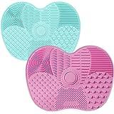 TSHAOUN 2 Piezas Estera de Limpieza de Cepillo Cosmético de Silicona, Limpiador de Pinceles de Maquillaje, Cepillos Cosmético