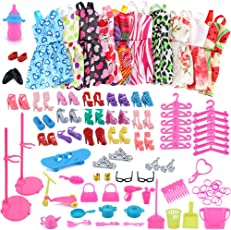 Leoie 10PCS Mixed Style Dress Ornaments Shoes Accessories for Barbie Doll Kids Gift