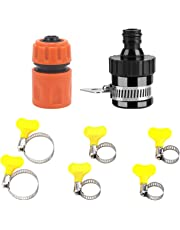 HOKIPO® Garden Water Hose Fitting Accessories Set - 1 Universal Tap Adapter, 1 Quick Connector and 6 Hose Clamp