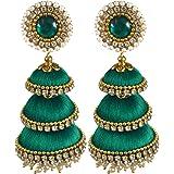 Nisuj Fashion Three layer jhumka Fashion earrings for Women/Girls-Green Colour