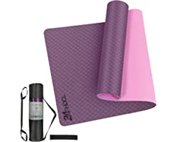 24HOCL Yoga Mat Non Slip, Eco Friendly Pro Exercise Mat with Carrying Strap Storage Bag and Headband for All Types of Yoga, P
