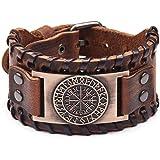 LANSEYAOJI Bracciali Vichingo con Motivo Vegvisir con Amuleto in Stile Vintage Nordico Rune Bussola/Testa di Lupo,Uomo Bracci