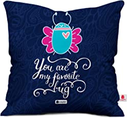 Indigifts Micro Satin and Fibre Bug Printed Cushion Cover with Filler, 12x12-inch (Blue)
