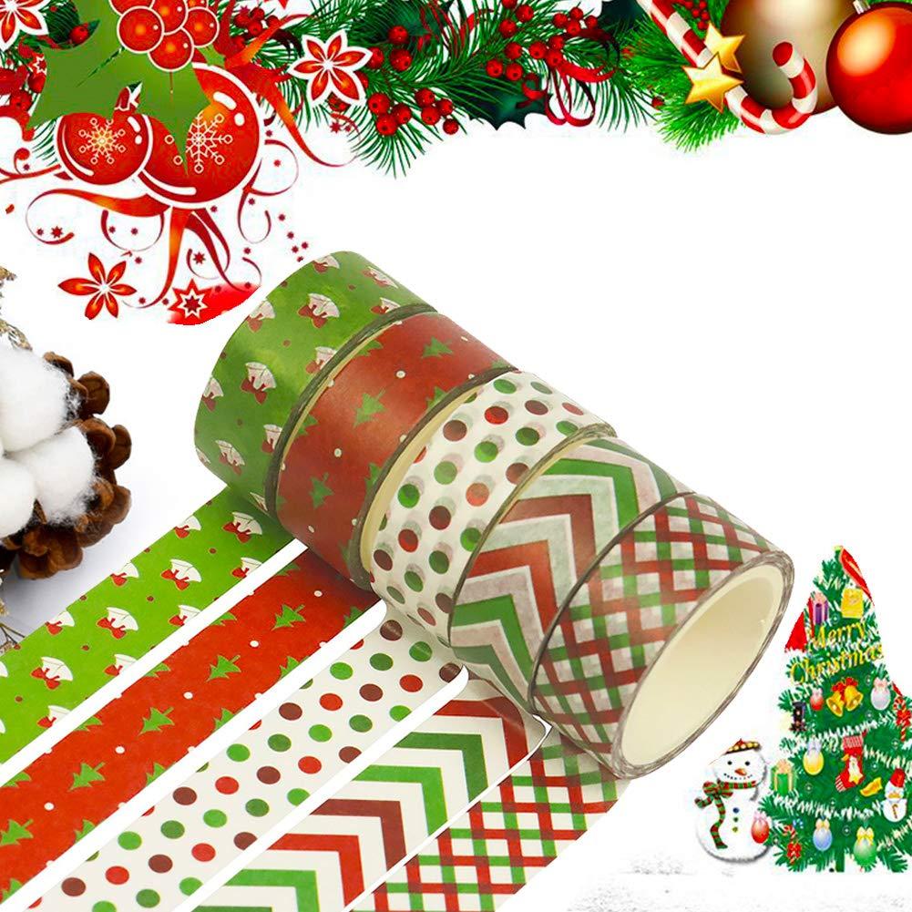 Navidad Washi tape set 12 Cintas adhesivas Rainbow Kawaii Decorativo de Masking Tape Washi Tape Decorativas de Colores Washi Cinta de Enmascarar para DIY manualidades /álbumes de recortes y regalos