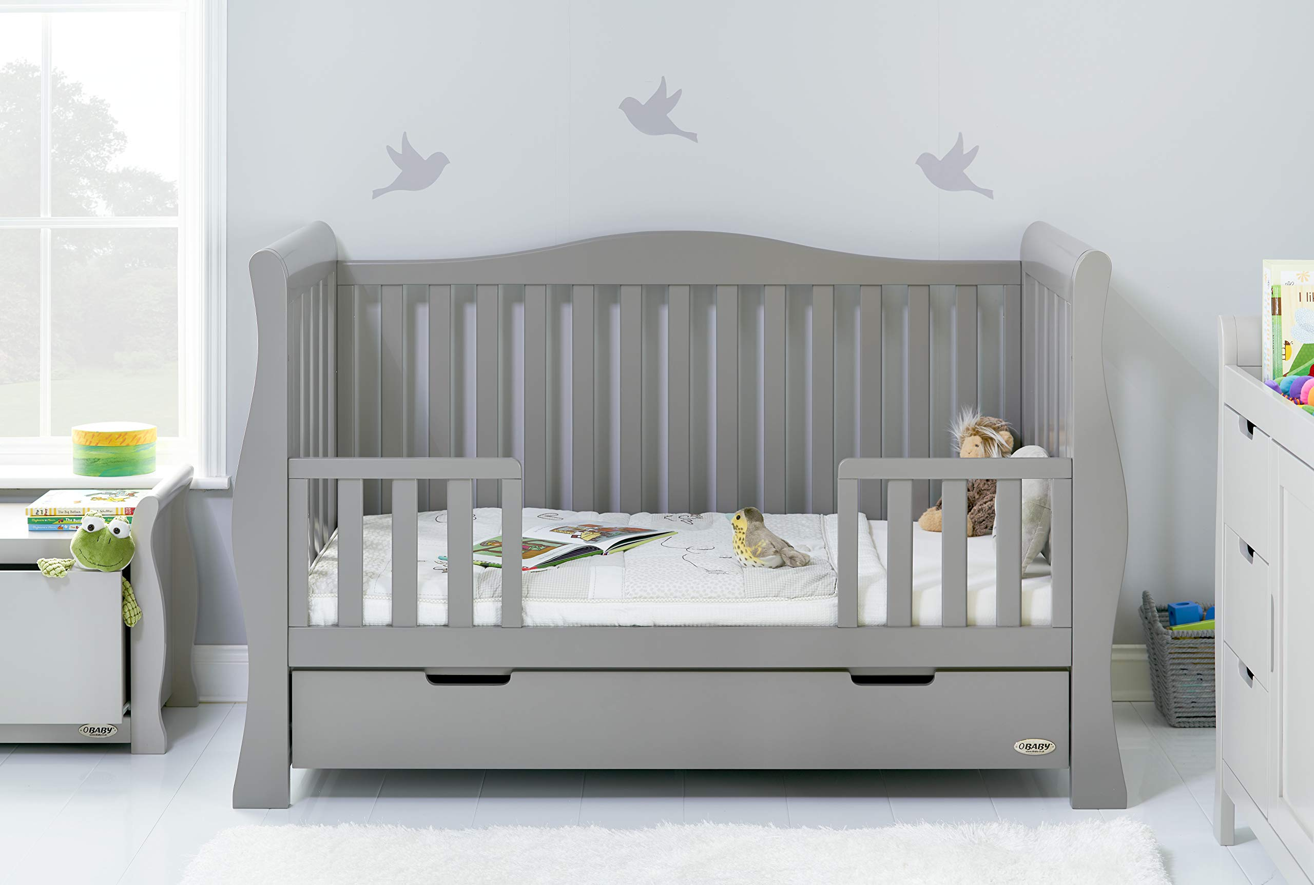 Obaby Stamford Luxe Sleigh Cot Bed, Warm Grey Obaby Adjustable 3 position mattress height Sides remove to transform into toddler bed Includes matching under drawer for storage 2