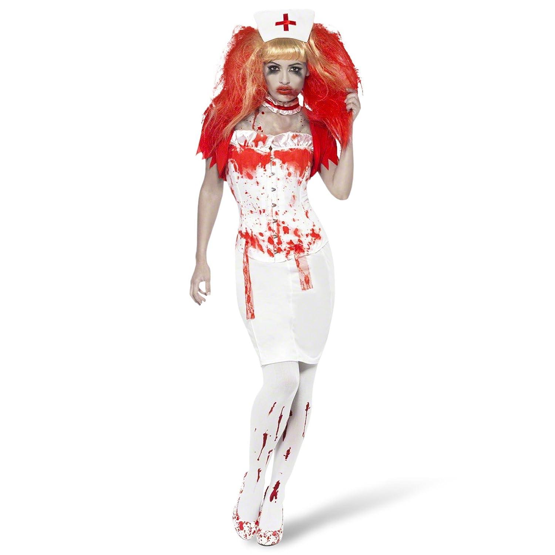 Blonde Blood Drip Wig Adult Womens Halloween Fancy Dress Accessort Nurse Wig