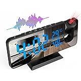 ShinePick Reveil Projecteur Plafond, FM Radio Reveil Projection 180°, Horloge Digitale Numérique avec 7' LED Écran Miroir, Po