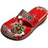Socofy Damen Sandalen, Sommer Leder Pantoffel Vintage Slipper Clogs Slip-Ons Bunte Blume Schuhe Bequem