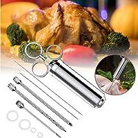 Suprcrne Siringhe per arrosti  Kit siringa Professionale per iniettori di Carne con 3 Aghi  2 spazzole e 4 o Ring di Ricambio