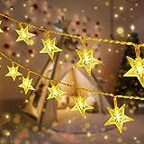 Catene Luminose, Qxmcov 2 Pezzi Stella Fata Luce 5 Metri 50 LED Stelle Luci 8 Modalità Lampeggianti, Luci Illuminazione Decor