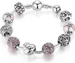 Wostu 925 del Braccialetto del Braccialetto d'Argento Placcato Fascino con Amore e Fiori Perline per Le Donne di Nozze di Compleanno