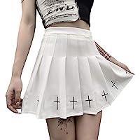 Damen Gothic Plissee Miniröcke Hohe Taille Kurze A-Linie Flare Rock Kleid mit Taschen für Punk Gothic Girls