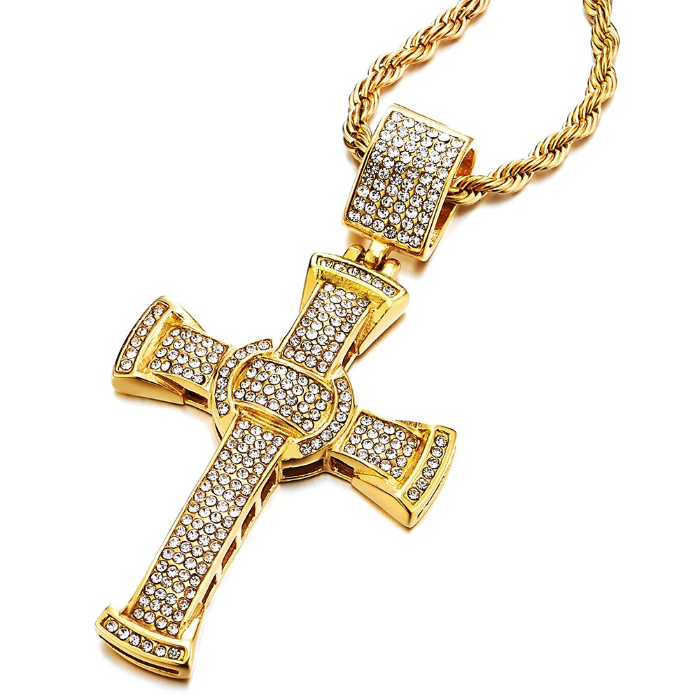 COOLSTEELANDBEYOND Mens Women Large Steel Gold Cross Pendant Necklace with Cubic Zirconia and 30 inches Rope Chain