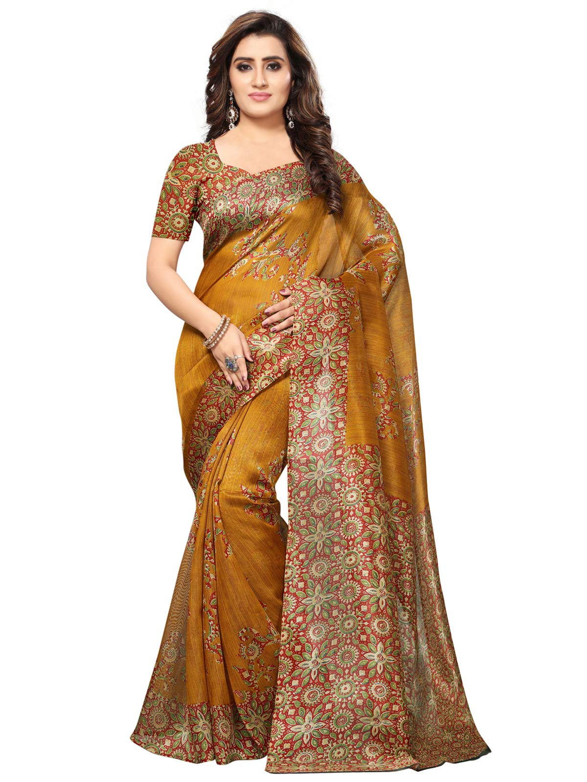Kanchnar Women's Yellow Art Silk Printed Saree