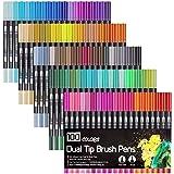 laconile 100Farben Aquarell Pinsel Stift 2mm Pinselspitze und 0,4mm feine Spitze Dual Spitze Art Marker Zeichnen Gemälde Wasserfarben Effekt schwarz, für Erwachsene