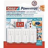 Tesa Powerstrips Vario-gordijnhaken, zelfklevende gordijnhaken, verwijderbaar en herbruikbaar, belastbaar tot 1 kg, wit, 1 x