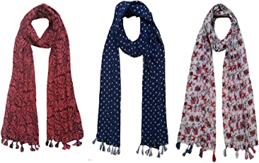FusFus Women's Polycotton Printed Scarf and Stoles, Free Size(Multicolour, FB26) - Pack of 3