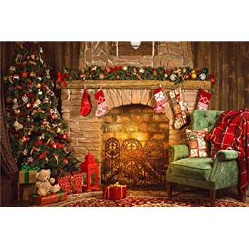 daniu christmas background photo fireplace studio vinyl amazon co rh amazon co uk fireplace with christmas songs fireplace with christmas music