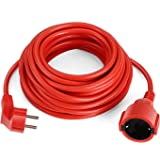 SIMBR Alargador Electrico 10m IP20 H05VV Cable de Corriente para Prolongador Cable Eléctrico de Color Rojo