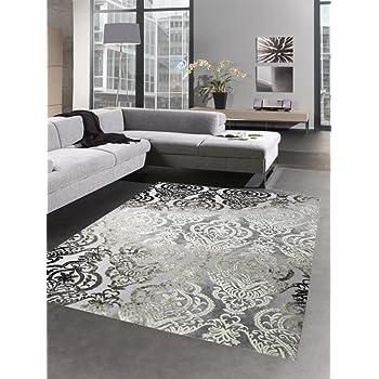 Carpetia Moderner Teppich Wohnzimmerteppich Barock Ornamente grau braun  Größe 120x170 cm