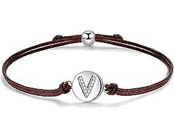 J.Endéar Lettre Initiale A-Z Bracelet, Argent Sterling 925 Zircone avec Cordon Filigrane Bracelet 24 cm Réglable pour Femmes