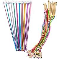 Poweka Lot de 12 crochets tunisiens en bambou avec aiguilles circulaires de 3,5 à 12 mm et 11 aiguilles à tricoter en…