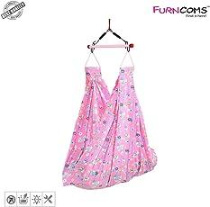 Furncoms 1031 Hanging Baby Cradle Foldable Hammock Jhula Thuni Thottil, Pink