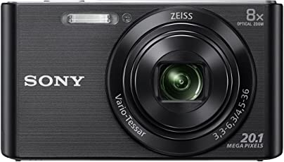 Sony DSC W830 Cyber-shot 20.1 MP Point and Shoot Camera (Black) with 8x Optical Zoom, Free Memory Card and Camera Case